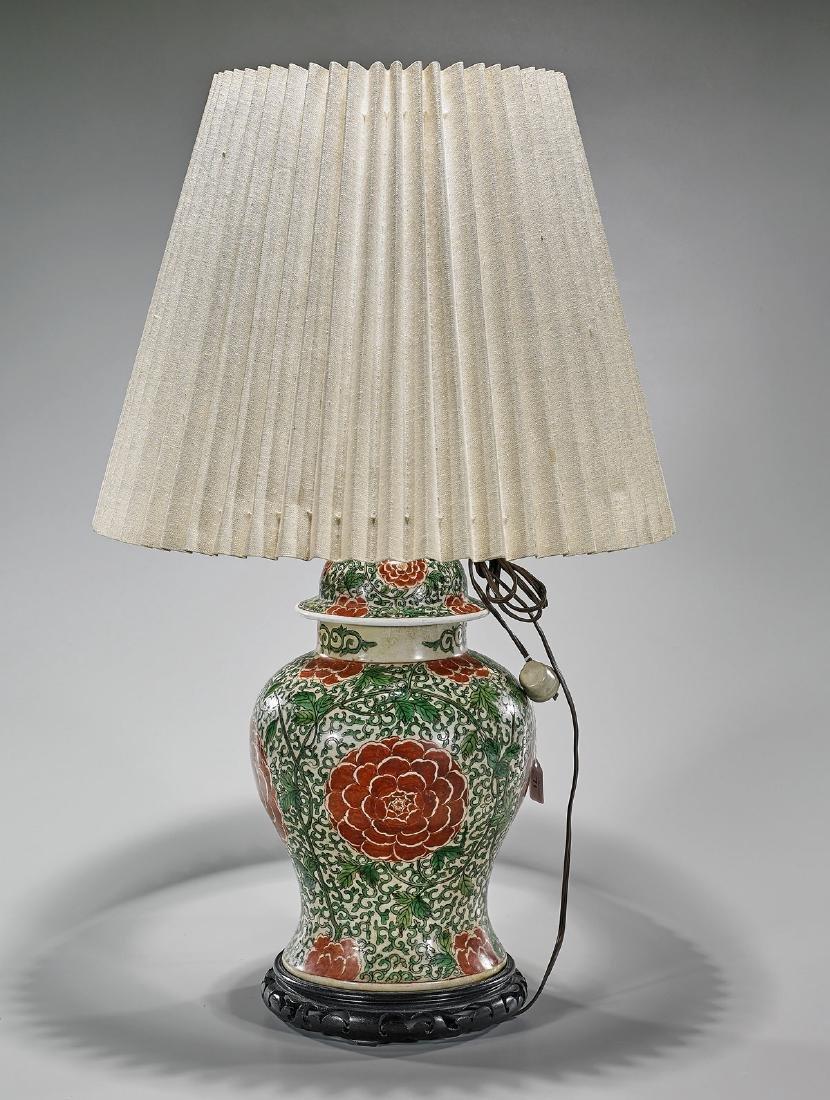 Antique Chinese Enameled Porcelain Baluster Jar/Lamp