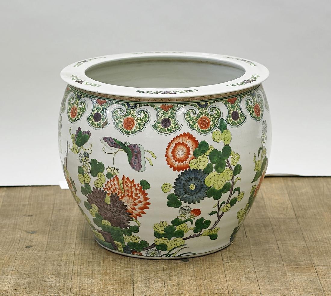 Chinese Famille Verte Enameled Porcelain Jardiniere