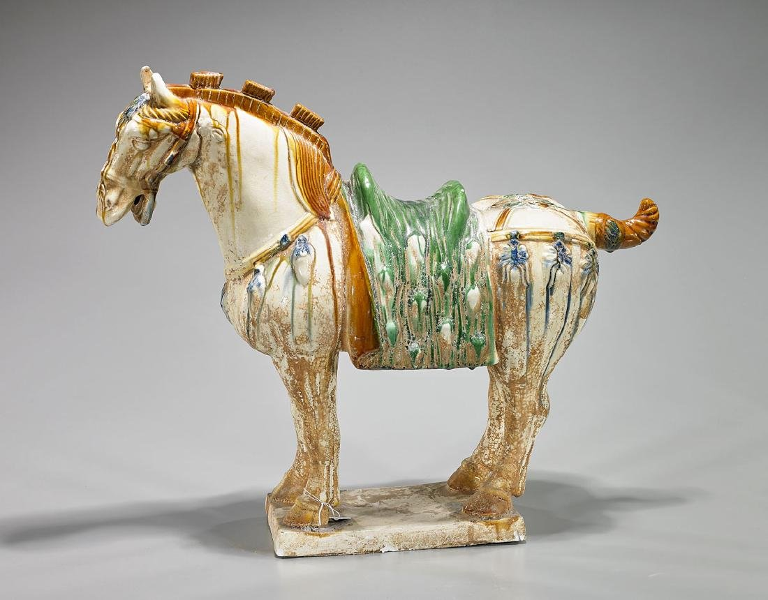 Chinese Tang-Style Blue & Sancai Glazed Pottery Horse