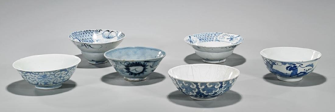 Group of Six Antique Chinese Blue & White Porcelain