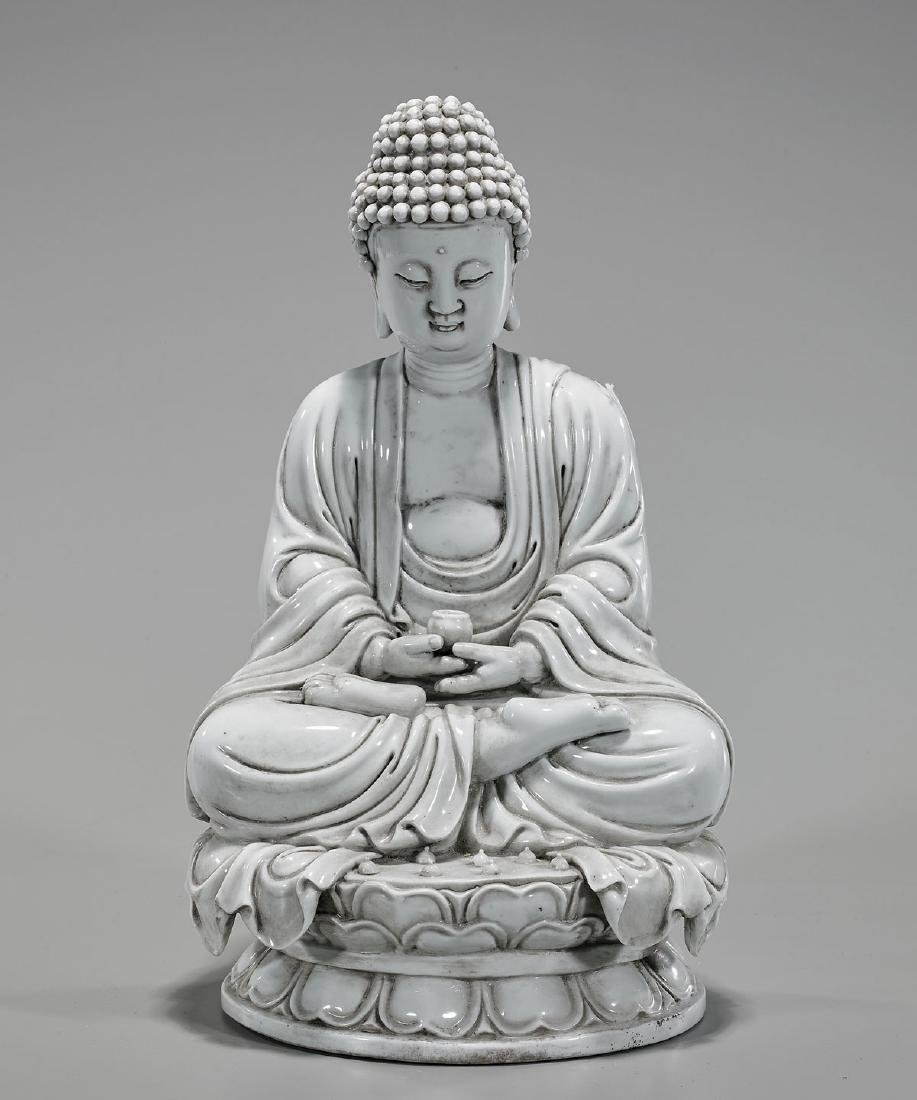 Chinese Blanc De Chine Porcelain Seated Buddha