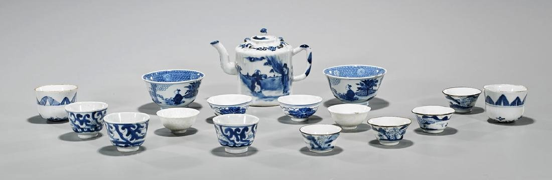 Group of Sixteen Antique Chinese Blue & White