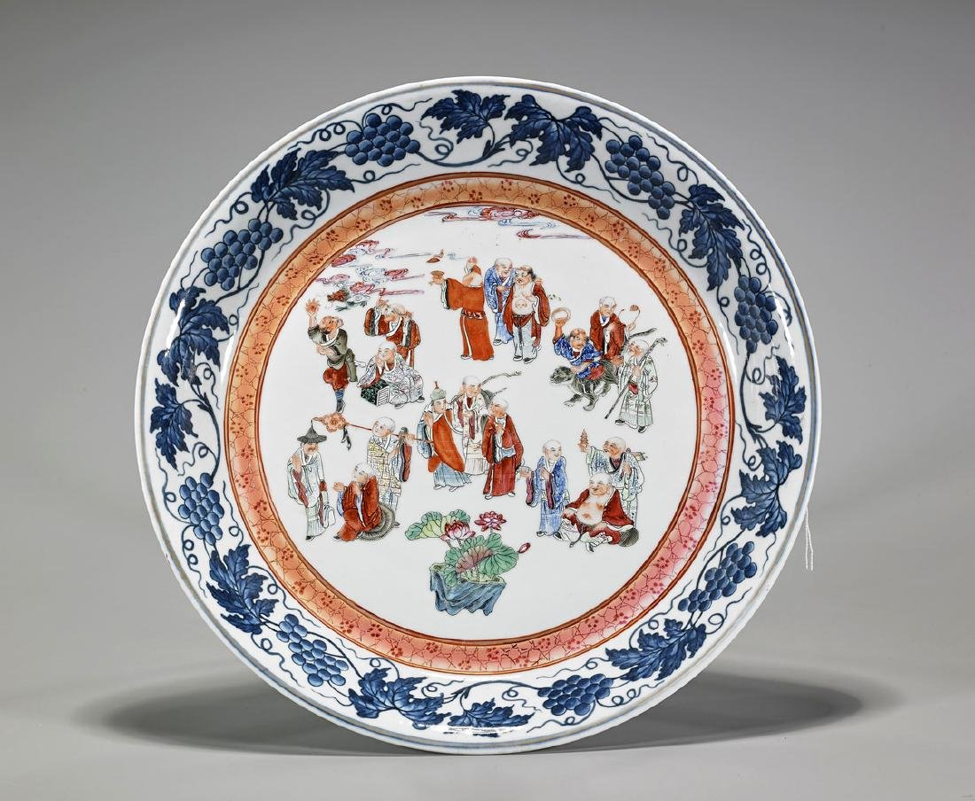 Chinese Enameled Porcelain Charger: Eighteen Lohans