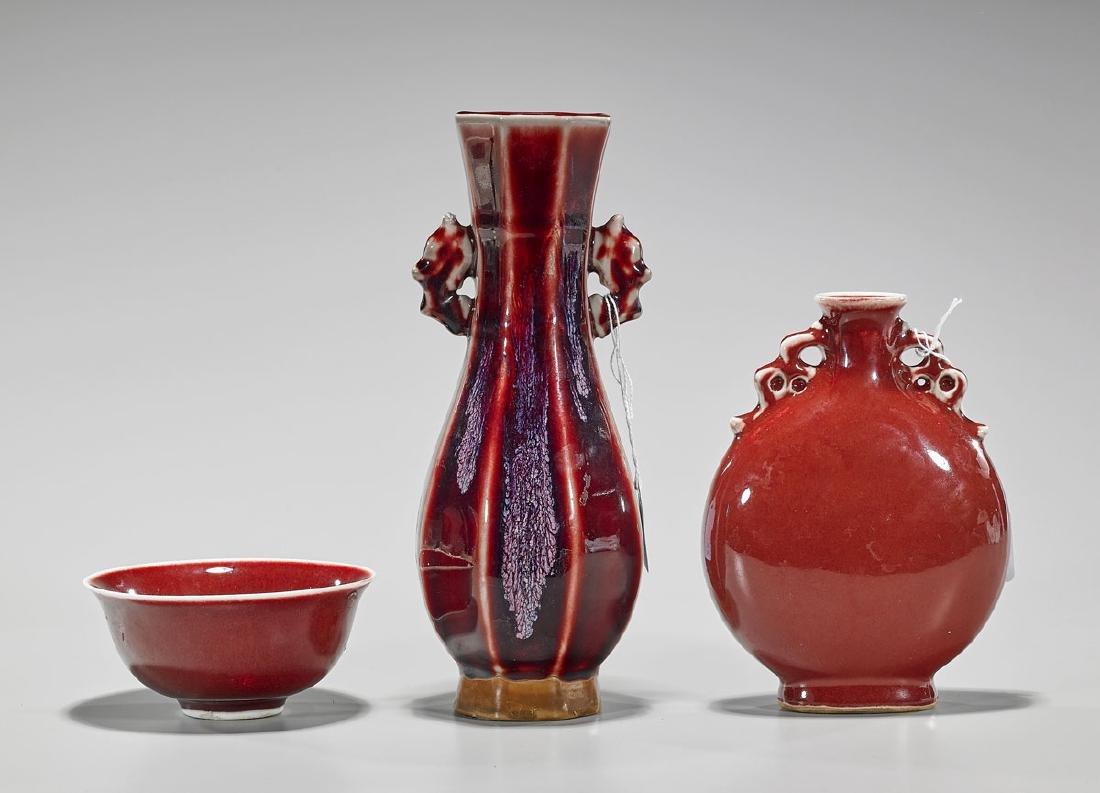 Group of Three Chinese Glazed Ceramics