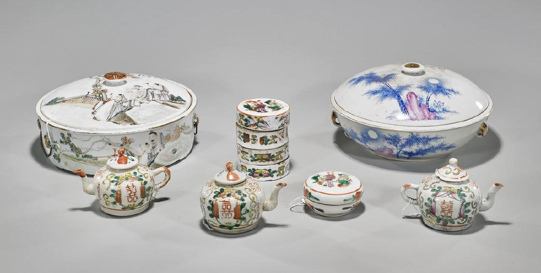 Group of Seven Chinese Enameled Porcelains
