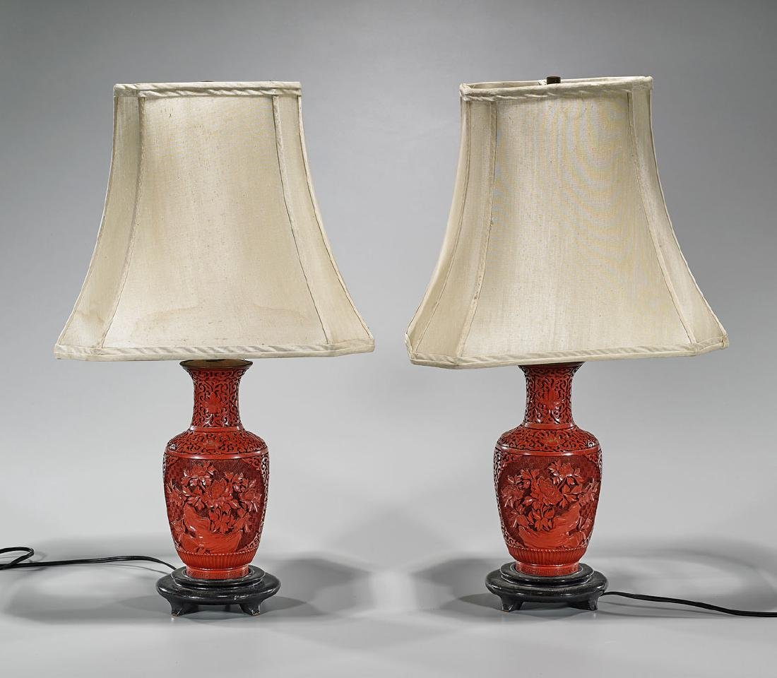 Pair Chinese Carved Cinnabar Lacquer Vases/Lamps