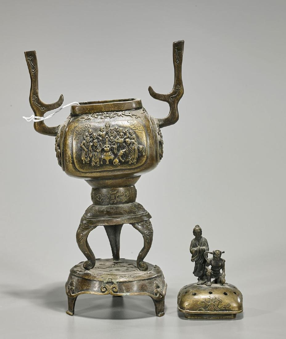 Chinese Bronze Covered Censer - 2