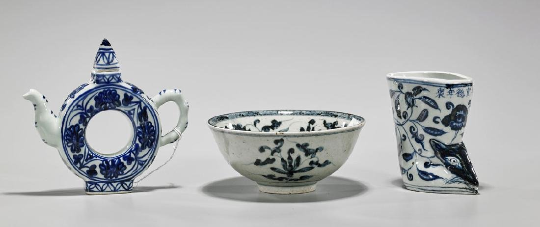 Three Chinese Ming-Style Blue & White Porcelains