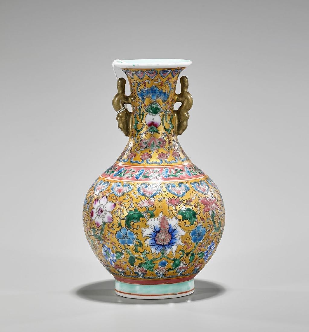 Qianlong-Style Enameled Porcelain Vase
