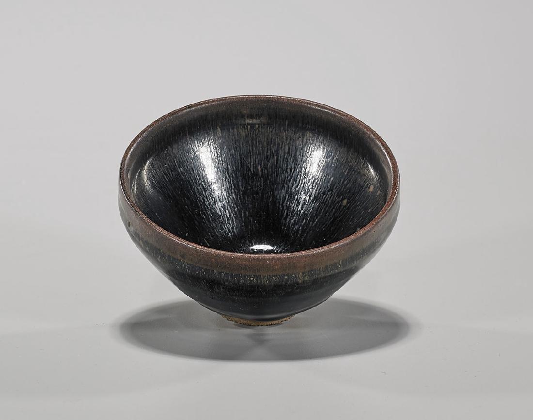 Chinese 'Hare's Fur' Glazed Tea Bowl