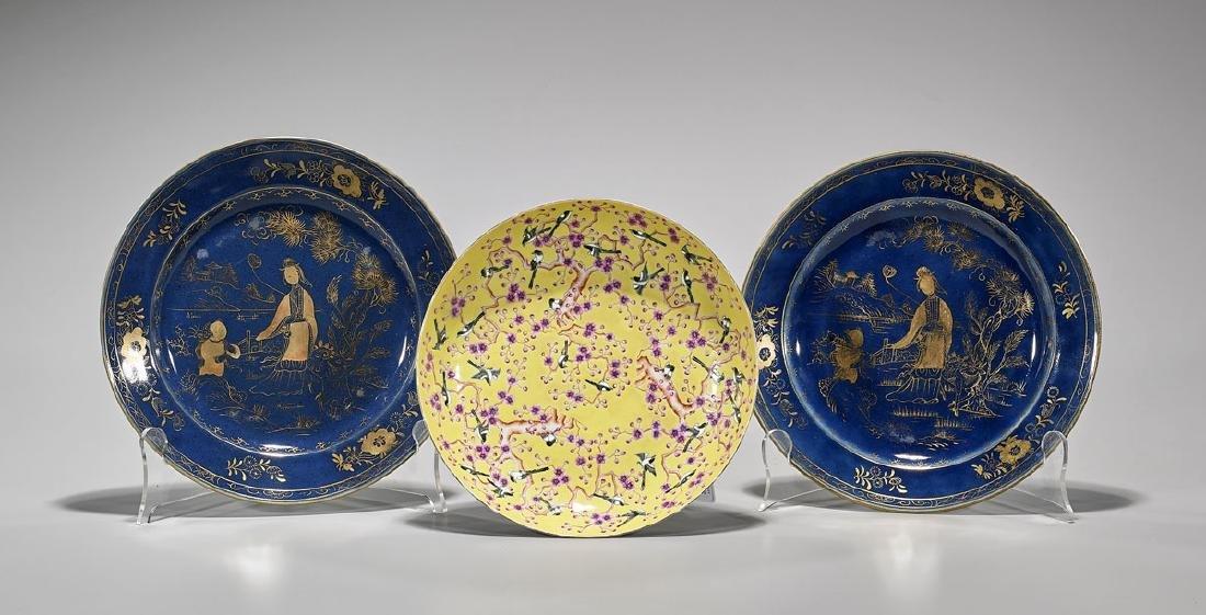 Three Chinese Enameled Porcelain Dishes