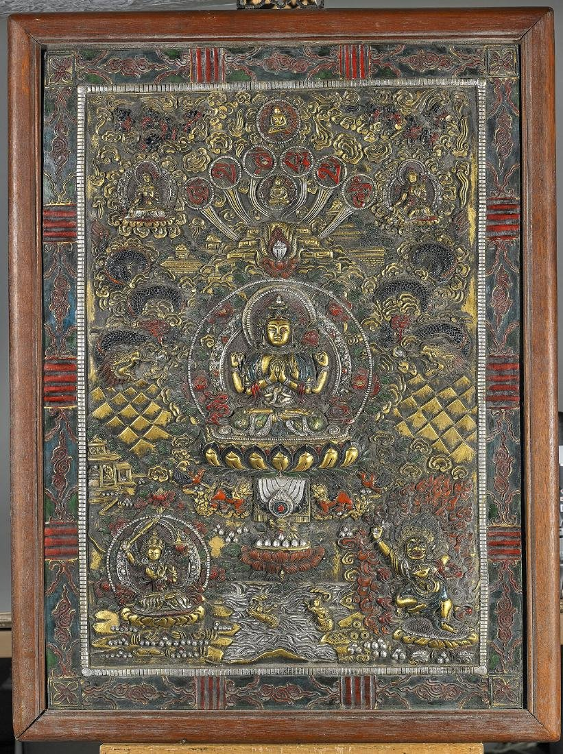 Chinese Carved & Lacquered Wood Buddhist Panel