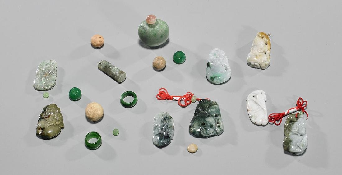 Group of Various Chinese Jadeite, Hardstone & Pottery