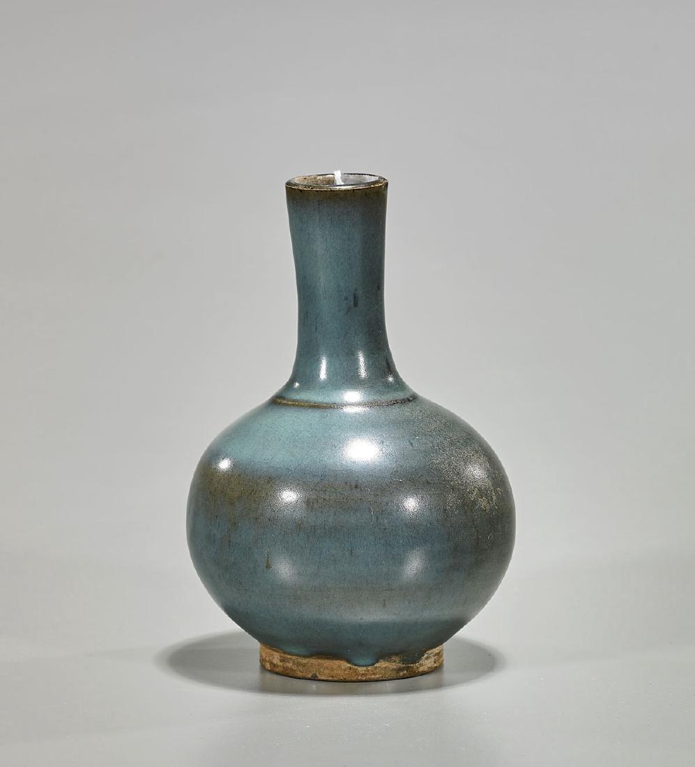 Antique Chinese Junyao-Type Glazed Bottle Vase