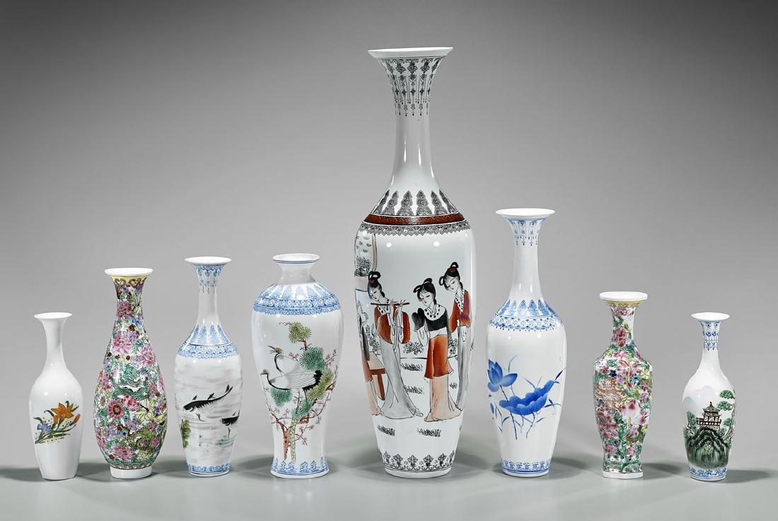 Group of Eight Chinese Enameled Eggshell Porcelain