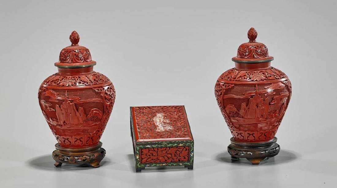 Three Chinese Cinnabar Lacquer Pieces: Box & Two Vases