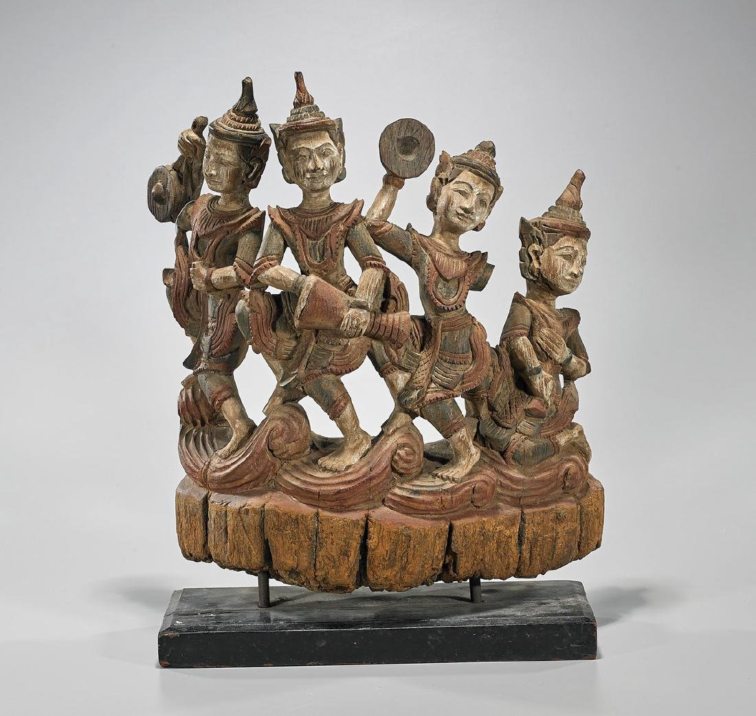 Old Thai Figural Wood Carving
