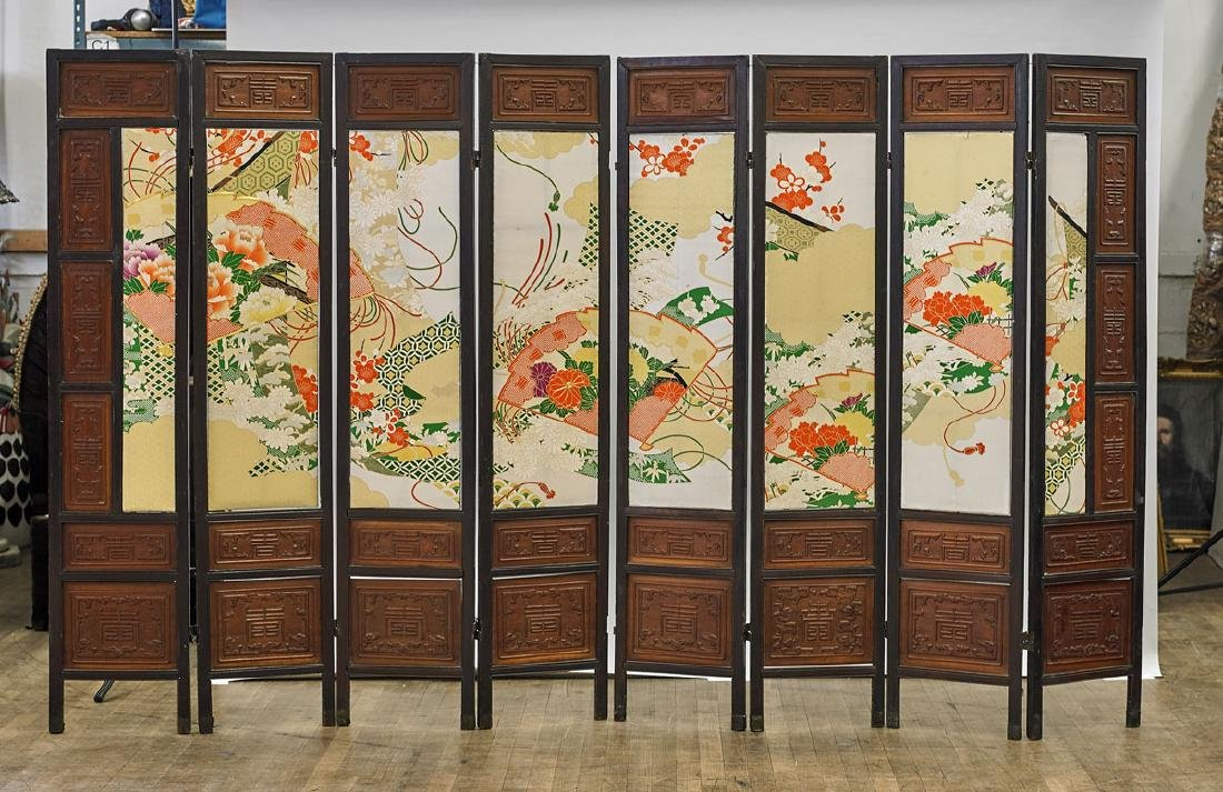Old Chinese Eight-Panel Wood Screen