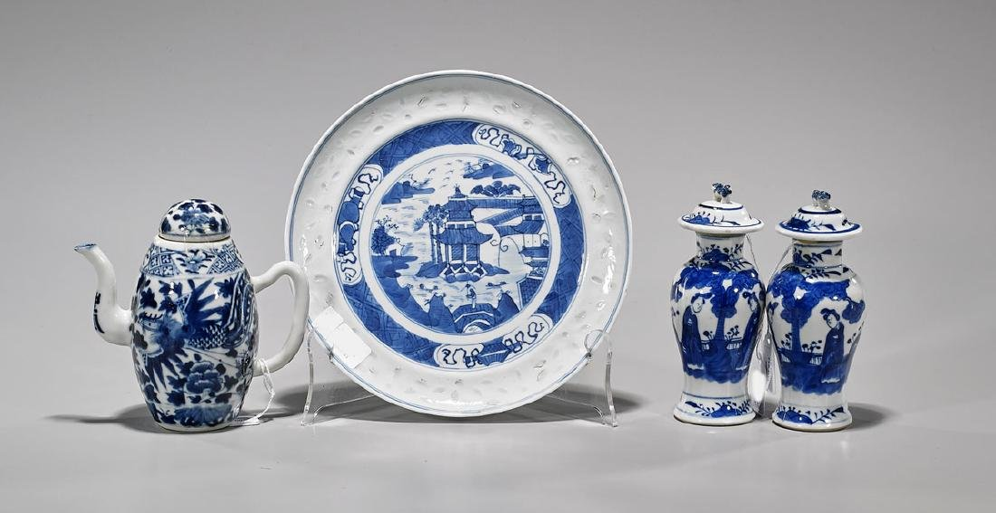 Four Various Antique Chinese Blue & White Porcelains