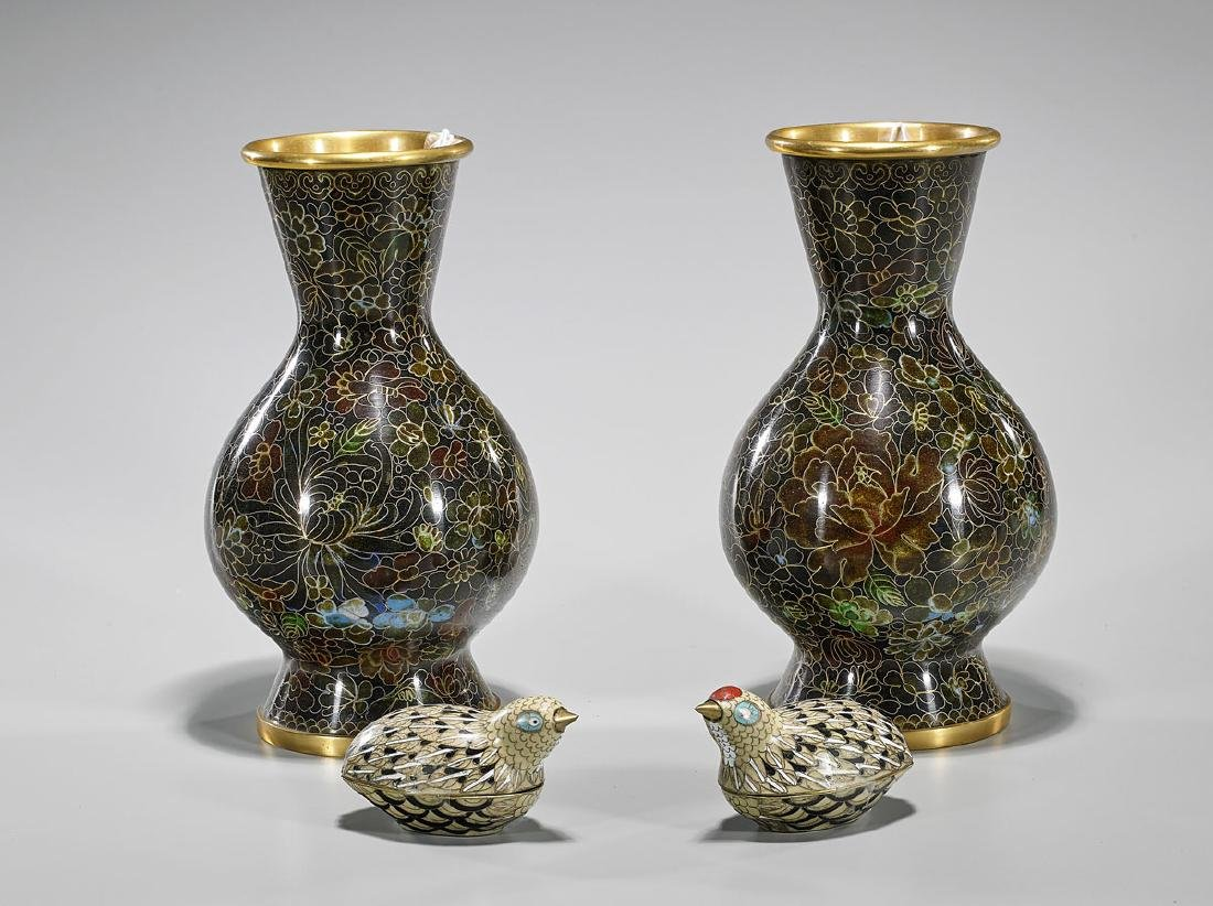 Group of Four Old Chinese Cloisonne Enamel Pieces