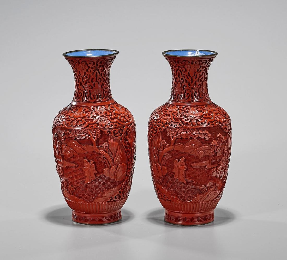 Pair Old Chinese Carved Cinnabar Lacquer Vases