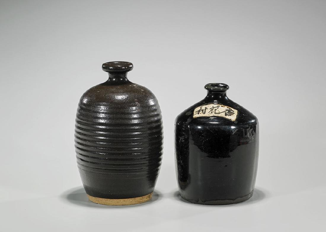 Two Chinese Jin Dynasty Henan Glazed Pottery Jars