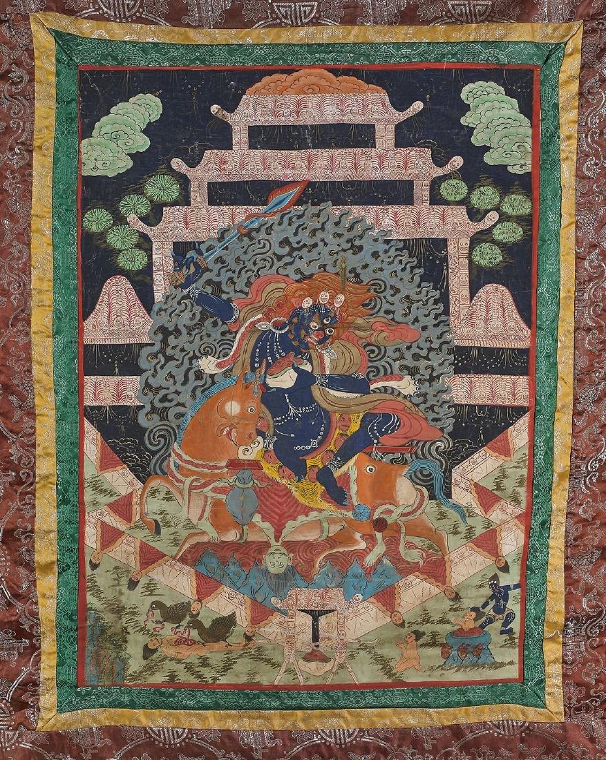 Old Tibeto-Chinese Painted Thangka
