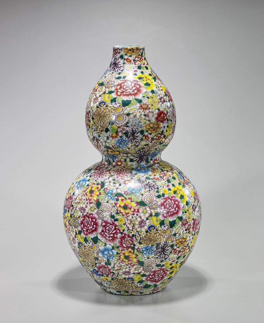 Large Chinese 'Millefleur' Enameled Porcelain Vase