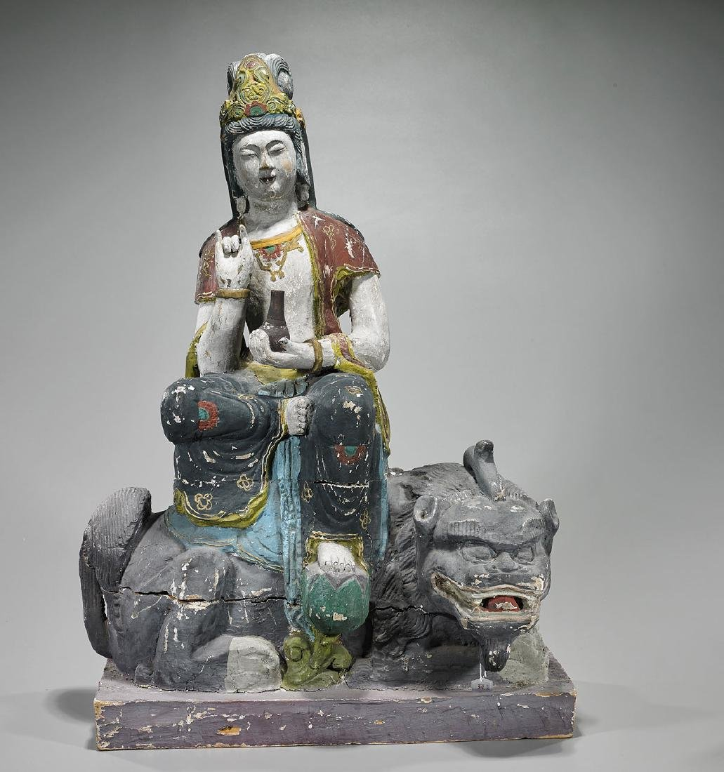 Large Ming-Style Polychrome Wood Figure of Guanyin