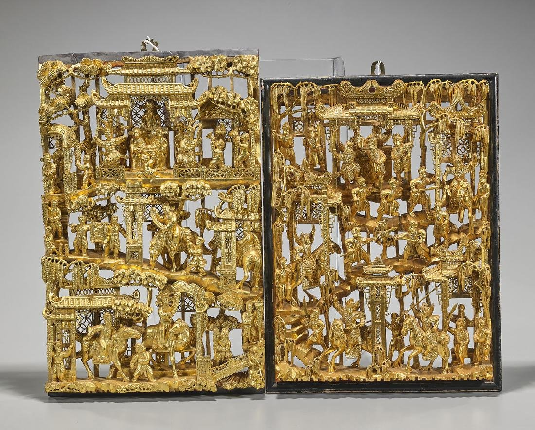 Two Old & Elaborate Chinese Carved Gilt Wood Panels