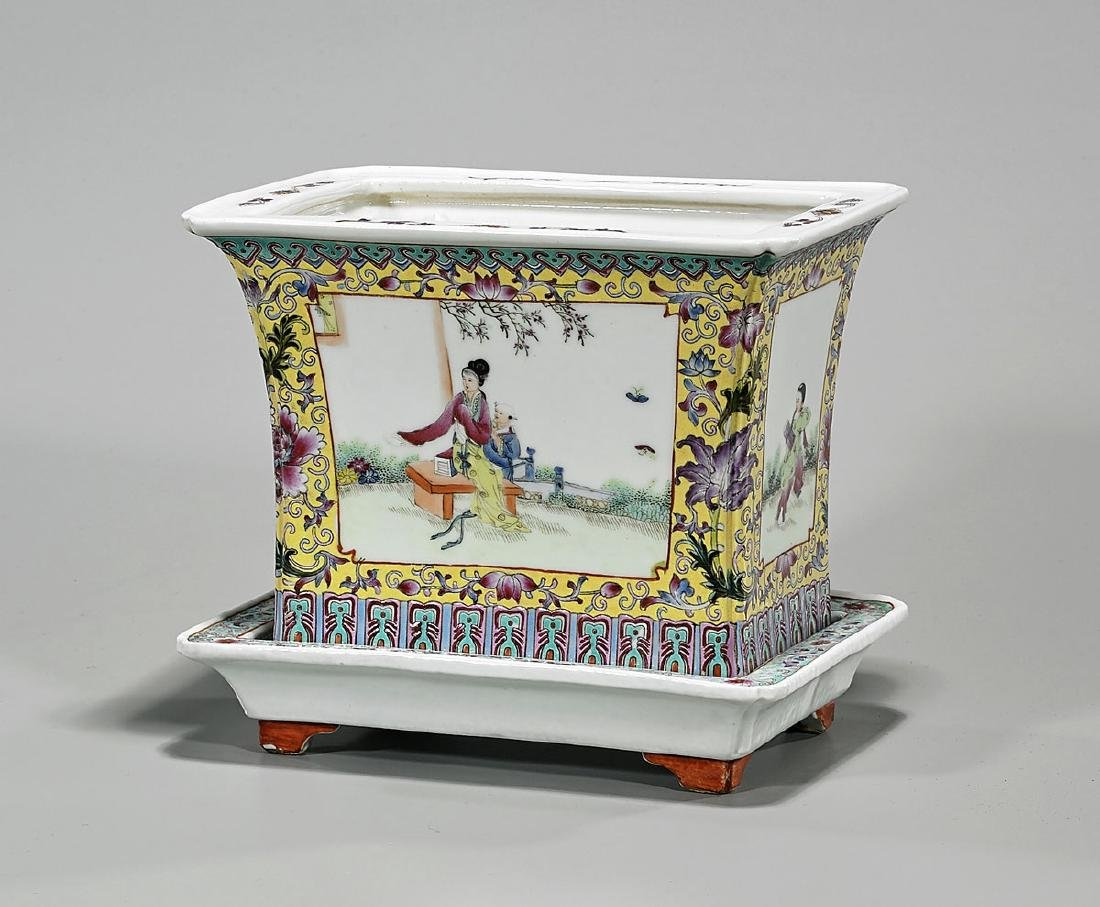 Chinese Famille Rose Enameled Porcelain Jardiniere &