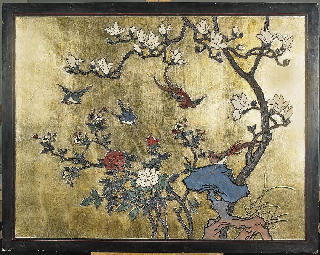 Large Old Chinese Carved Reversible Lacquer Panel