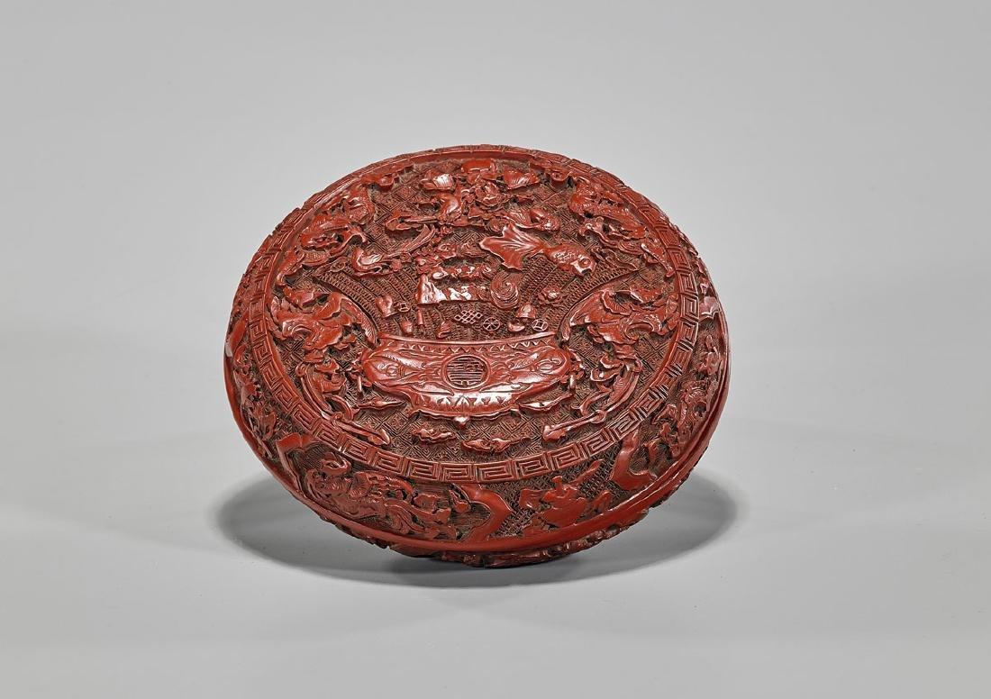 Chinese Cinnabar Lacquer Round Box