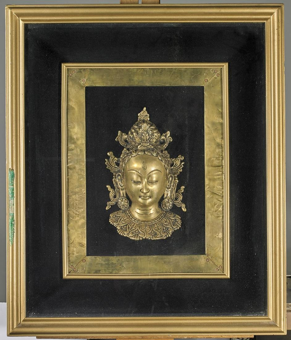 Sino-Tibetan Gilt Bronze Head of Buddha