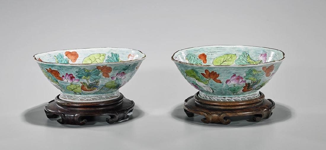Pair Antique Chinese Enameled Porcelain Bowls