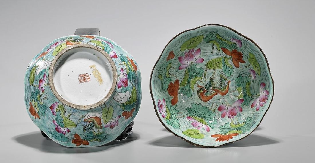 Pair Antique Chinese Enameled Porcelain Bowls - 2