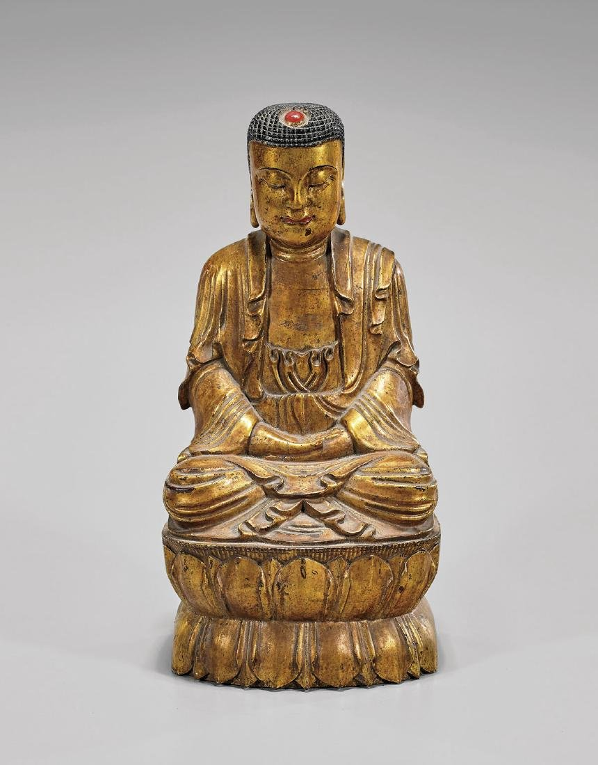 Antique Gilt Wood Shakyamuni Buddha