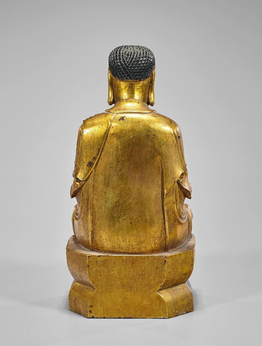 Antique Gilt Wood Shakyamuni Buddha - 2