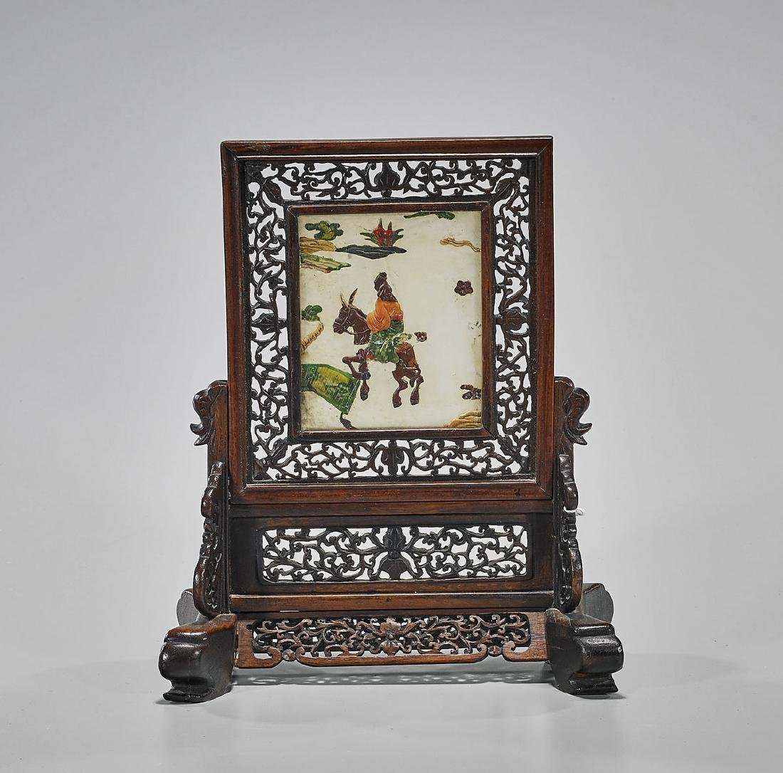 Antique Applique Hardstone Tablescreen