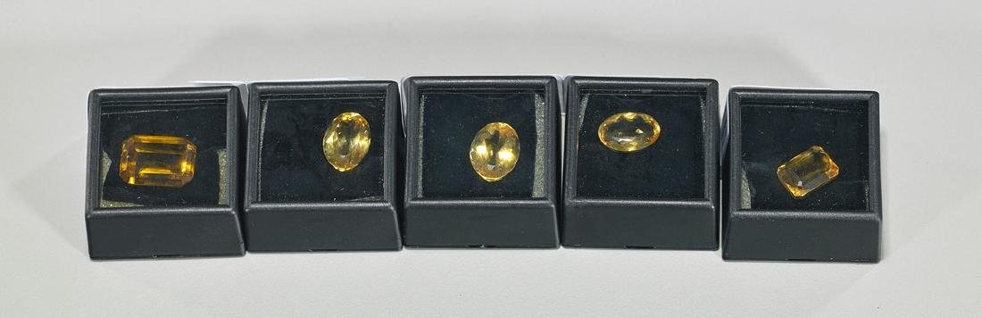 Group of Five Faceted Citrines