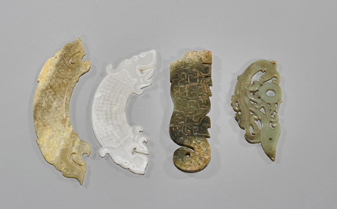 Group of Four Old Chinese Archaistic Carved Jade Or