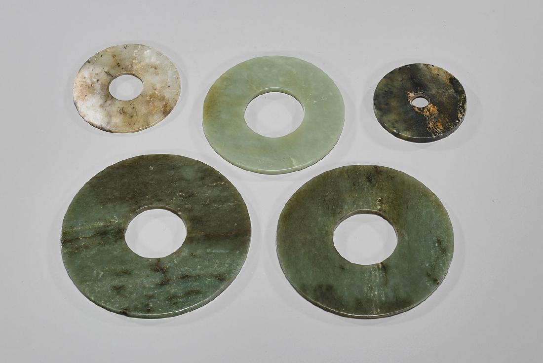 Group of Five Old Chinese Carved Jade Or Hardstone 'Bi'