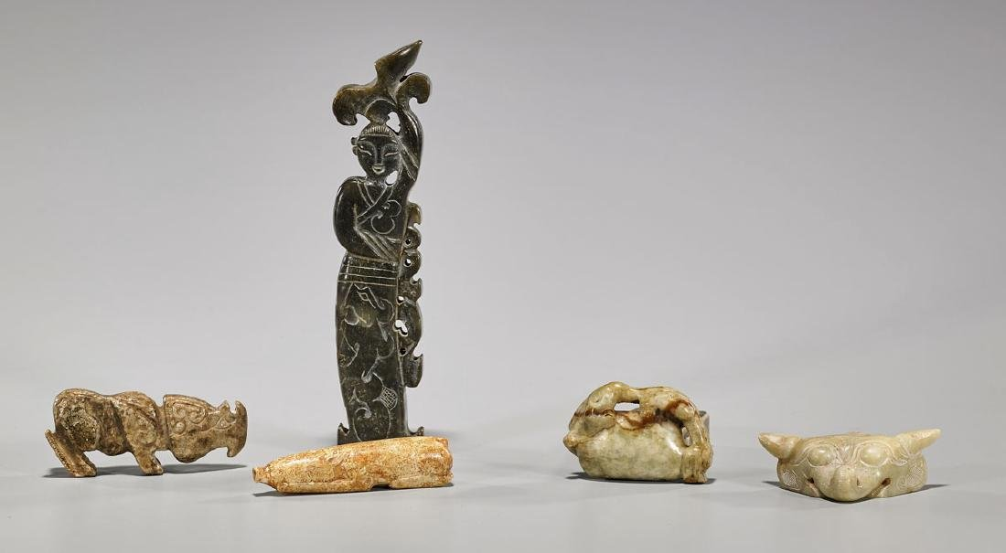 Group of Five Old Chinese Archaistic Hardstone Carvings