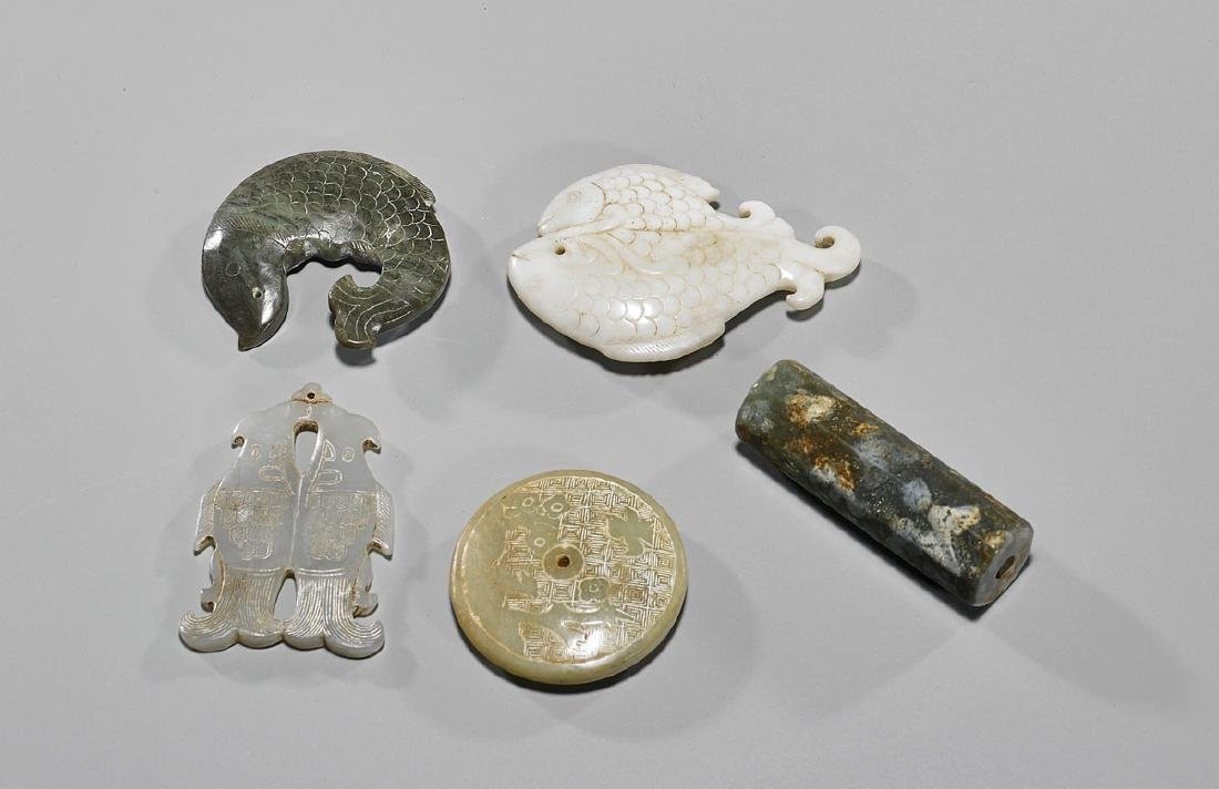 Group of Five Old Chinese Archaistic Carved Jade Or