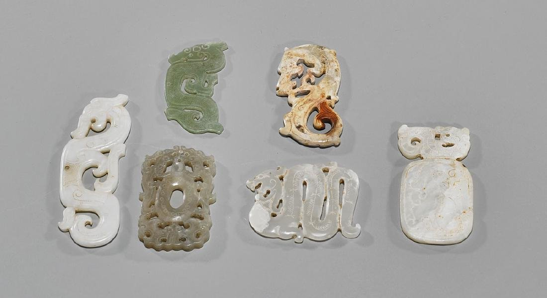 Group of Six Old Chinese Carved Jade Or Hardstone