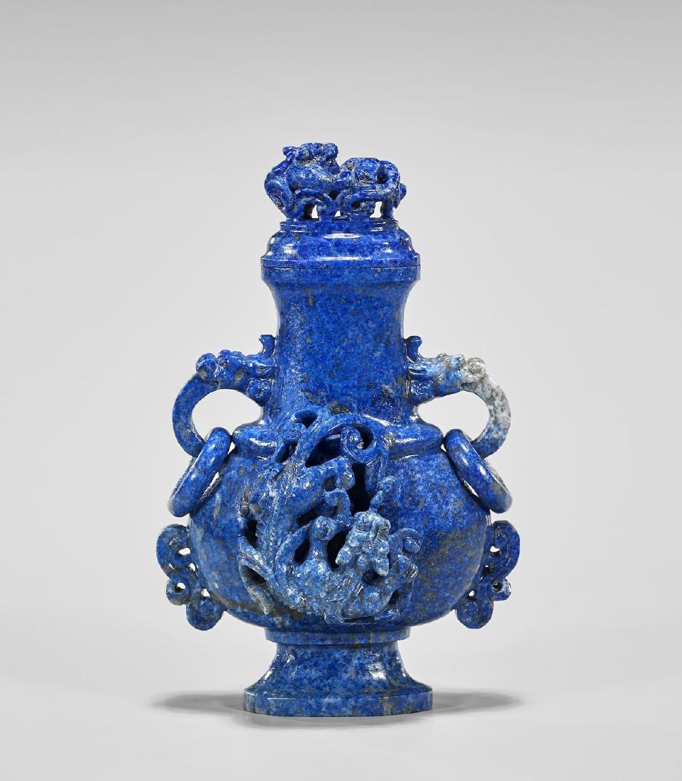 Old Chinese Carved Lapis Lazuli Vase