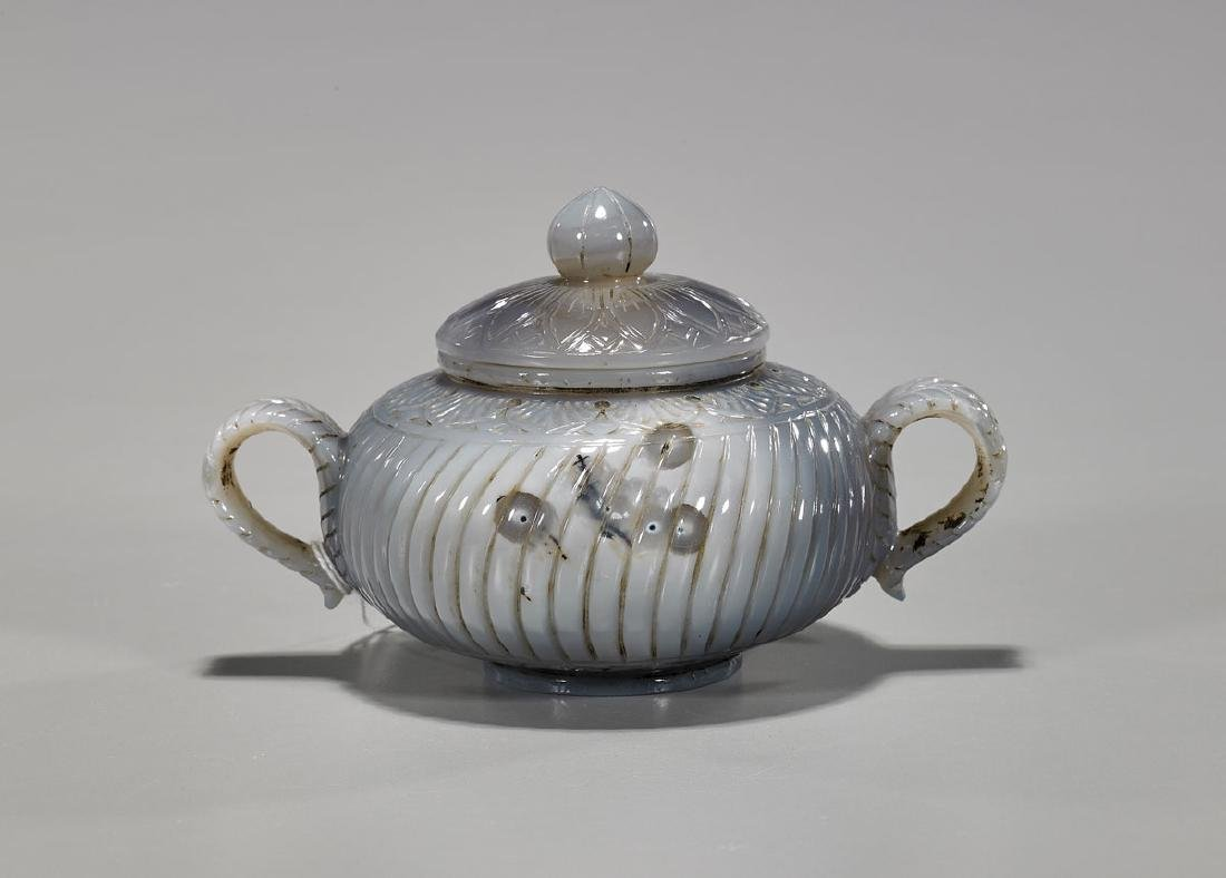 Mughal-Style Carved Agate Covered Vessel