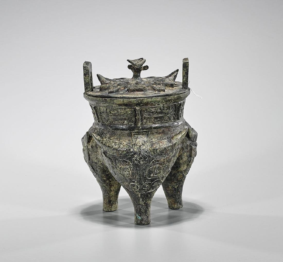 Archaistic Chinese Bronze Covered Li Vessel