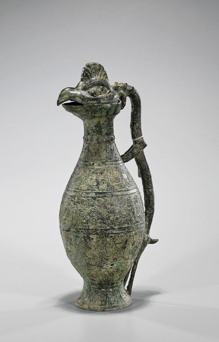 Tall Archaistic Chinese Bronze Bird-Form Ewer