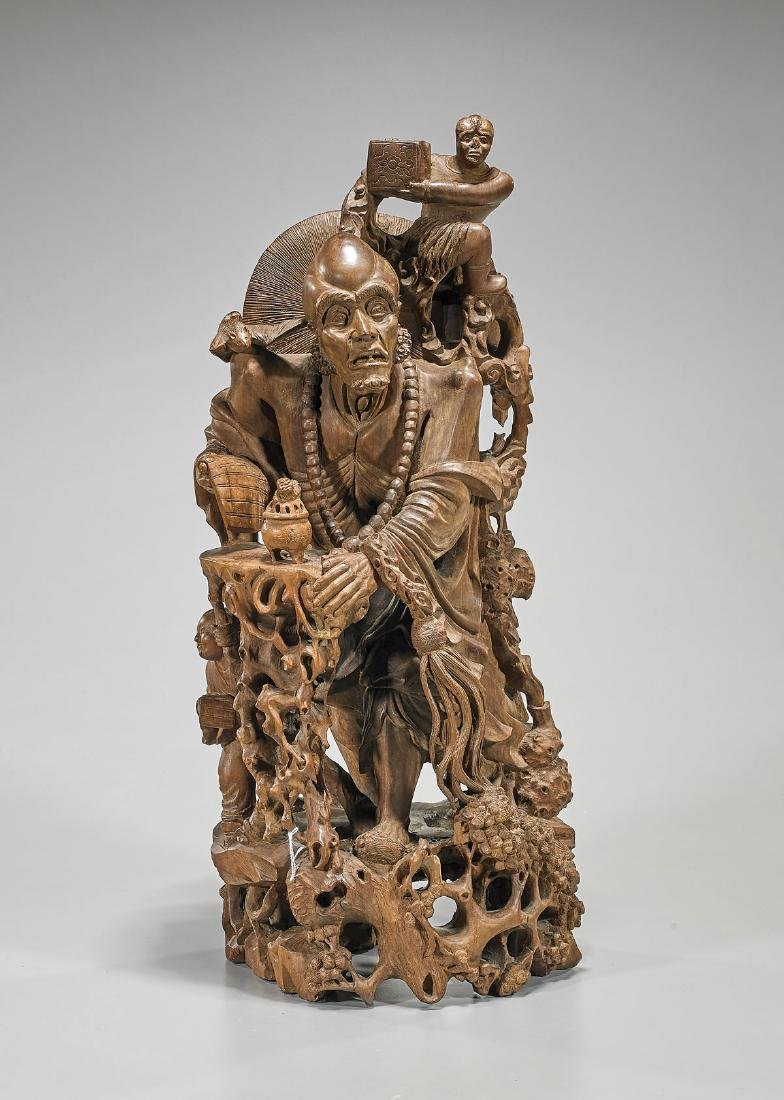 Chinese Carved Wood Figural Group